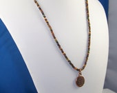 Rustic Fall Matte Seed Bead Necklace with Copper Tree of Life Charm