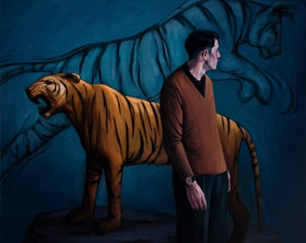 "painting man tiger ""Shadow Self"""