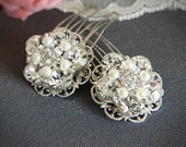 VICKI - Bridal Hair Combs, Silver Filigree Rhinestone Pearl Comb, Vintage Style Bridal Hair Accessory, Crystal Hair Accessories, Set of TWO