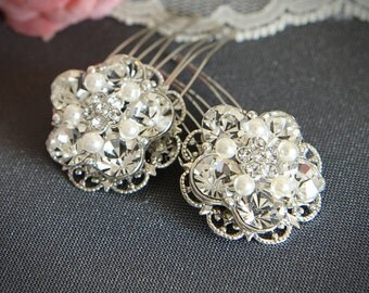 Bridal Hair Combs, Silver Filigree Rhinestone Pearl Comb, Vintage Style Bridal Hair Accessory, Crystal Hair Accessories, Set of TWO, VICKI