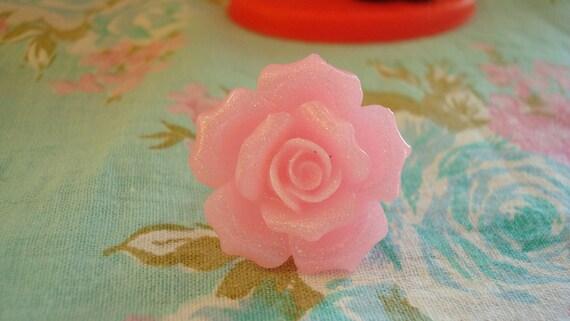 Shimmery Pink Fancy Rose Kawaii Ring