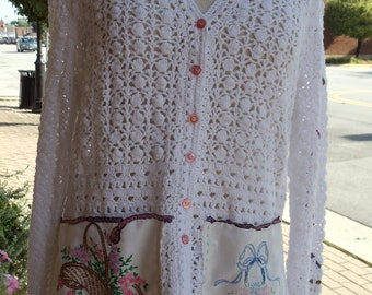 SALE,WAS 75.00,Seashell Rosewear,Romantic Crochet, White Cardigan,Evening Sweater,Beach Cover Up,Upcycled,Eco Friendly, OOAK