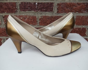 SALE Metallic Leather Spectator Pumps with Studs in Bronze Gold & Beige - Funky - Party - Heels - Holiday - Contempos - size 9