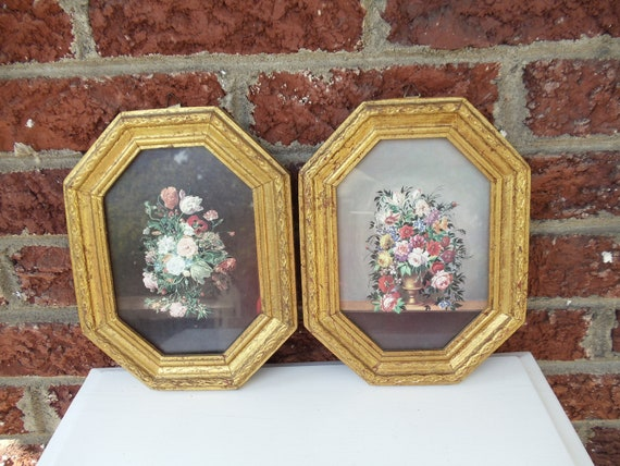 Pair of Italian Gold Gilt Framed Floral Bouquet Prints - Wood - Home Decor - Wall Hangings - Pictures - Antique - European - Octagon - Regal