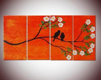 Art Painting Impasto Birds on Tree 24x48,  Red Painting, Large Four Panels, Textured Painting, Romantic Custom Art