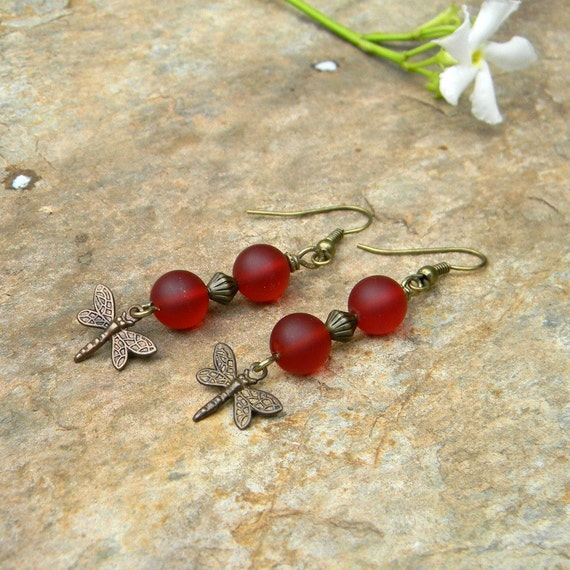 Dragonfly earrings seaglass insect beaded jewelry ruby red and brass nature inspired jewelry