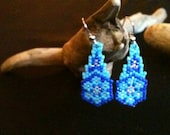 Blue Floral Delica Earrings