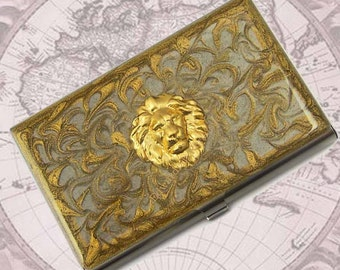 Safari Lions Head Business Card Case Inlaid in Hand Painted Gold Swirl Design Metal Wallet Neo Victorian Leo Personalized and Custom Colors