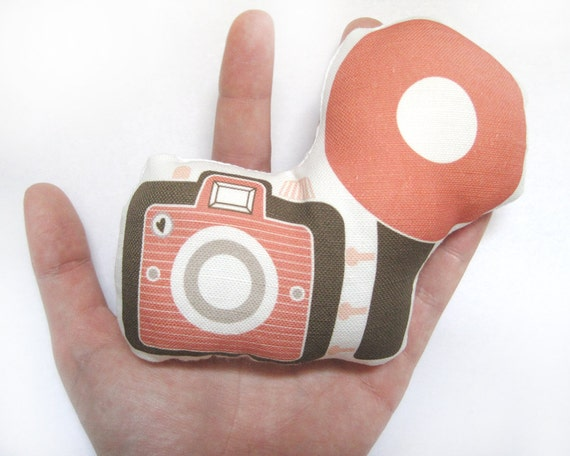 Mini Camera Brownie Plush / Pillow in Brown, Tan and Salmon by Yellow Heart Art