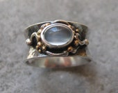 Anticlastic Silver and Gold Ring with Moonstone