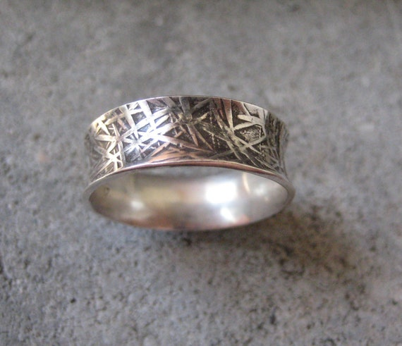 Concave Sterling Silver Band with Engraved Design