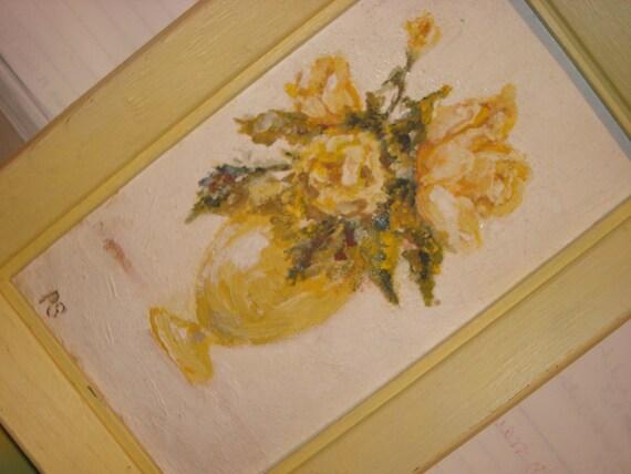 Painting Yellow Roses Yellow Vase Yellow Frame TREASURY ITEM