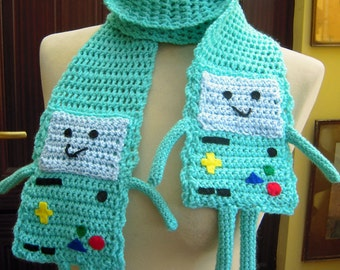 Crochet Beemo from Adventure Time Scarf - Ready to Ship