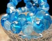 LIQUID BLUE Czech Glass Rondell 6X8mm 12ea