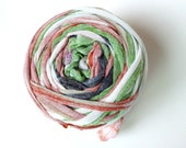 Colorful Stripes on White  Upcycled Fabric Yarn  Machine Cut