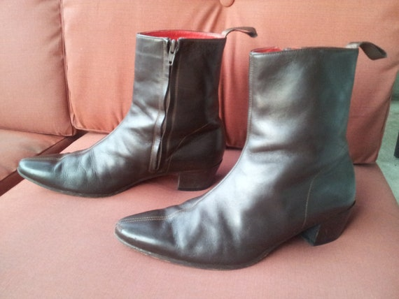 FALL SALE Real Beatle Boots EXACTLY like the Fab Four Wore Brown Cuban Heels Center Seam 60s mod Winklepicker