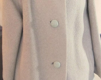 Vintage Boucle Wool - Nubby - Coat With Mink Collar