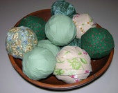 Large Lot Rag Rug Fabric Balls for primitive display braided crochet rugs Light Green, Beige, Dark Green