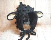 Black Lamb Hat - Knit Animal Hat Pixie Bonnet for Newborn - 12 months Boys Girls Babies - Alpaca Mulberry Silk - Photography Prop Halloween