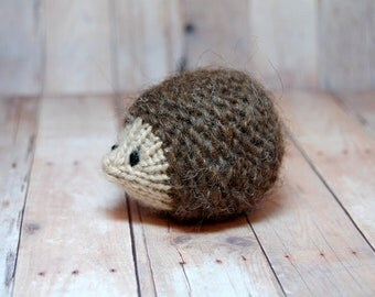 Hedgehog Ornament Toy - Knit Waldorf Soft Toy Hedgehog- Natural Fibers - Autumn Fall Decoration - Woodland Toy