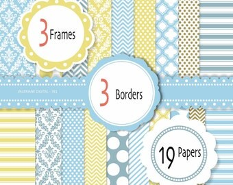 Diigital paper clipart pack in blue and yellow, digital backgrounds - 12 jpg files 12x12 - INSTANT DOWNLOAD Pack 381