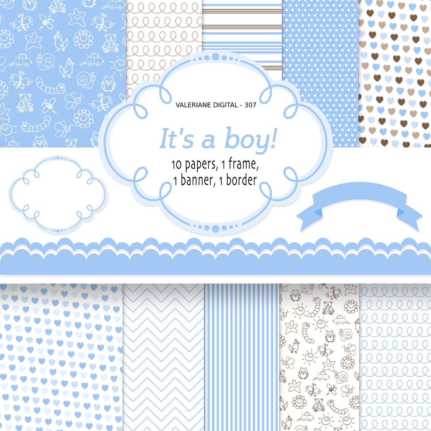 Baby boy digital paper backgrounds INSTANT DOWNLOAD Baby