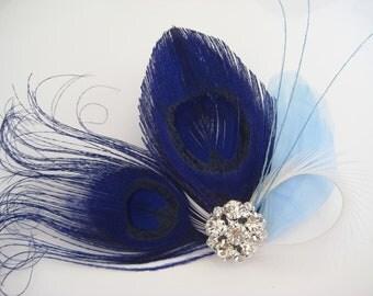 Wedding Bridal White Royal Blue Peacock Feather Rhinestone Jewel Head Piece Hair Clip Fascinator Something Blue