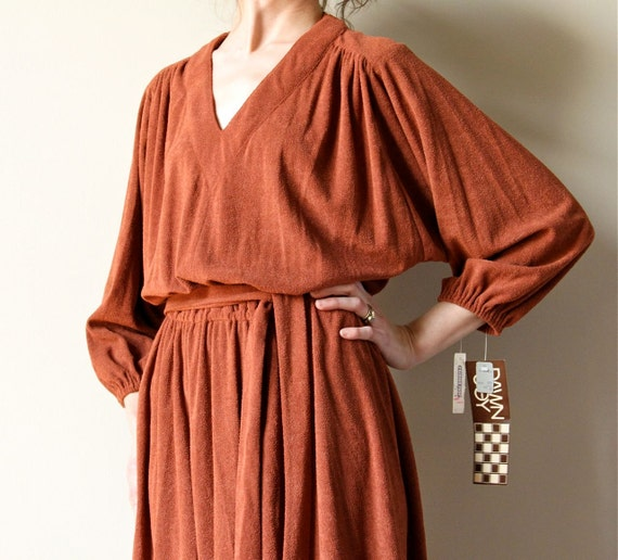 Sienna Brown Peasant Dress, 70s french terry draped boho hippie disco dancing dress, Fall rust color, unworn with tags