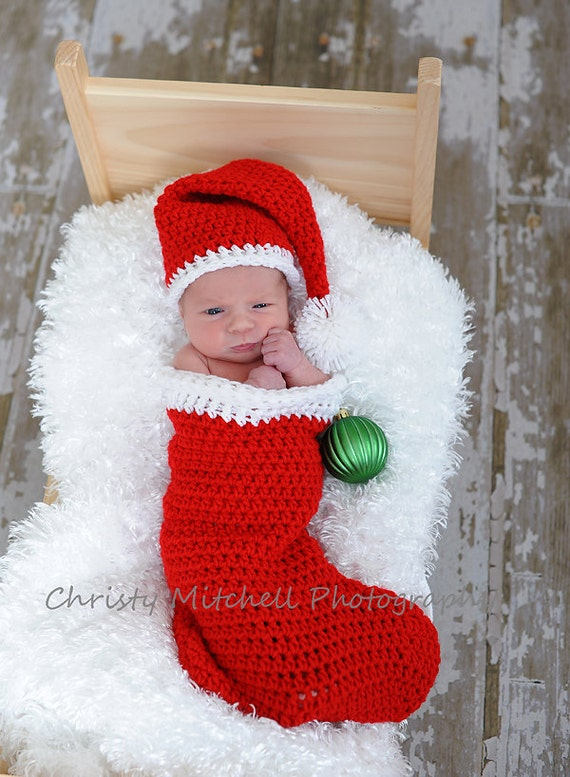 Knitting Pattern For Baby Christmas Stocking : Items similar to Christmas Stocking & Santa Hat Photo Prop - Newborn on Etsy