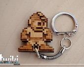 Megaman wood keyring OR charm accessory