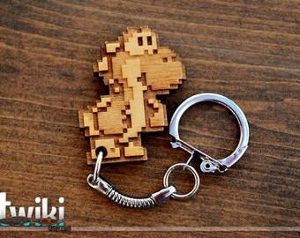 Yoshi 8bit wood keyring OR charm accessory
