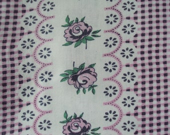 Yardage Vintage French Fabric Stripes Pink Roses Check Suitable for Patchwork Quilting Lavender Bags Feedsack Pillow