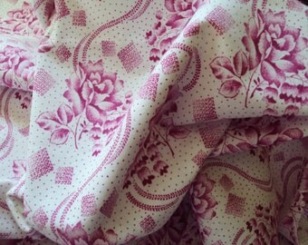 Gorgeous Vintage French Fabric Fuschia Pink Roses Lily of the Valley Unused Would Make a Fabulous Pillow Quilting Feedsack Dolls Clothes