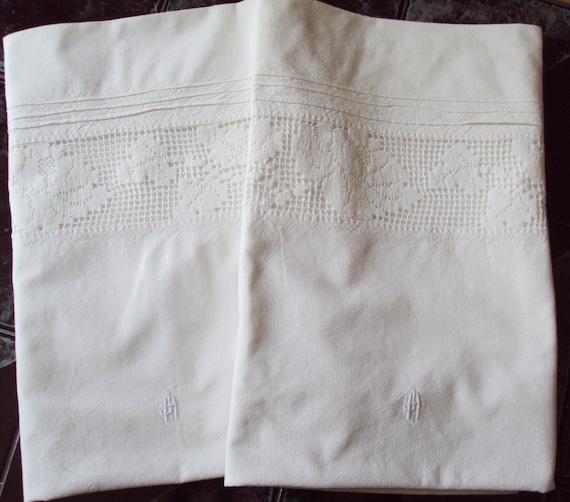 Pair Vintage French Linen Pillowcases Pillowshams Hand Crochet Lace Insert Monogram JH/HJ