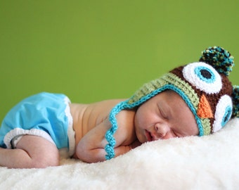 Owl Hat in Brown, Spring Green, & Aqua - Made to Order