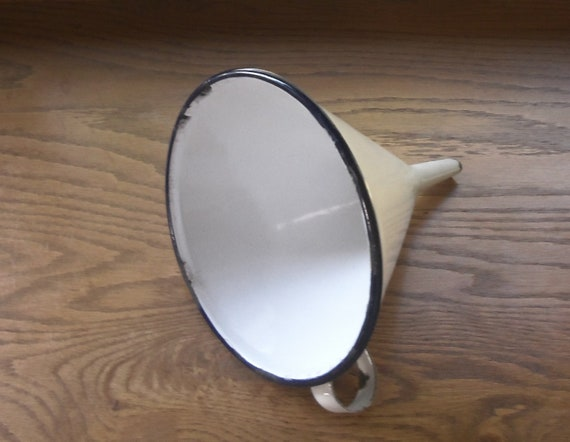 Enamelware Blue and White Funnel Large Cone Shaped 1950s