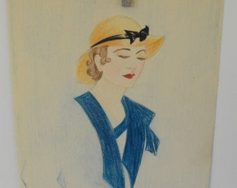 Original Art School Colored Pencil Fashion Drawing from 1933-35
