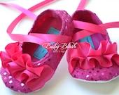 Fuschia Sequin Baby Shoes Baby Ballerina Slipper