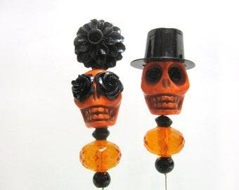 Sugar Skull Cake Topper Day Of The Dead Orange Black Lapel Pin Hat Pin Bride Groom