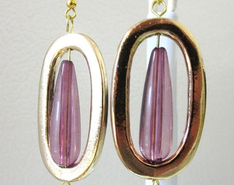 Geometric Dangle Earrings Goldtone Purple