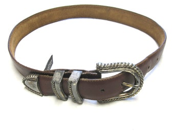 Brown Leather Belt Western Scrolled Silver Tone Buckle Mens Size M Medium
