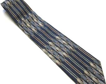 """Vintage Necktie 80's Silk Tie 4"""" Wide Black Blue"""