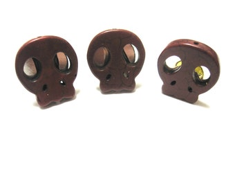 Sugar Skull Cufflinks Day Of The Dead Accessories Wedding Tietack Rust Brown Mens