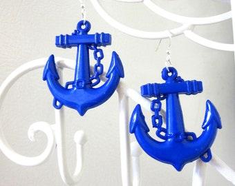 Anchor Earrings Nautical Rockabilly Pin Up Earrings Blue