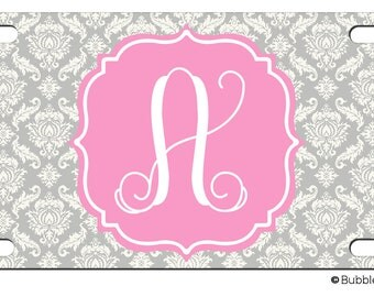 Personalized Gray DAMASK Flourish Pink License plate car Tag Name circle Monogram