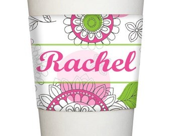 Personalized Java COFFEE SLEEVE wrap Monogrammed multi color floral fun whimsical name initial
