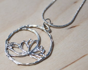 Fine Silver Filigree Necklace -Lotus Flower