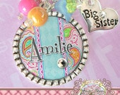 BIG SISTER NECKLACE, or Little Sister Necklace, Paisley, Personalized Name Bezel Necklace, Heart Charm, Birthday, New Sister, Baby Shower