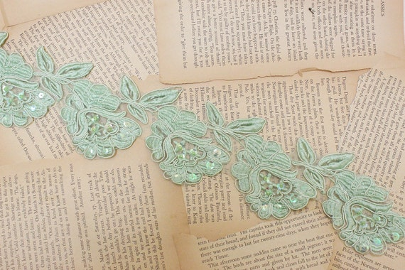 "3"" Wide Mint Green Color Flower Lace with sequins beading // Sahbby Chic Lace // Bridal Lace Trim 1Yard"