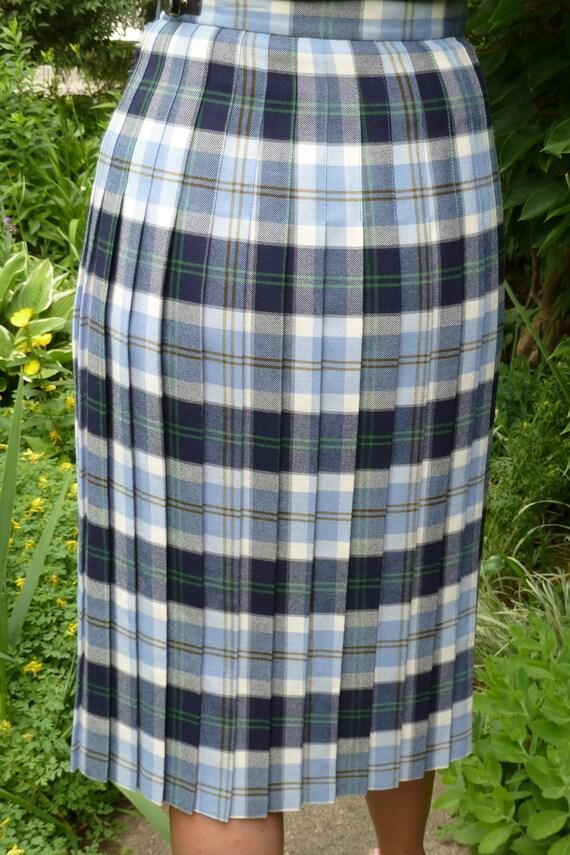 Scottish Tartan Skirt - tartan kilt - wool skirt - medium blue wool skirt